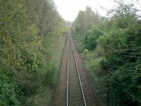 West Highland Line, from bridge by Shandon Station site, looking NW.<br><br>[Alistair MacKenzie&nbsp;17/04/2007]