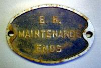 <b>The End</b>. BR maintenance ends sign located on CR Garnkirk extension at Germiston High Jn just before it passes under Garngad/Royston Rd.- was this a premonition? NB NBR also had a branch into Provan Gas Wks which the CR served.<br><br>[Alistair MacKenzie&nbsp;10/12/1979]