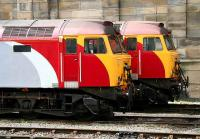 <I>'Don't fancy yours much...'</I> a pair of Virgin class 57s in the station sidings at Carlisle on 18 April 2007.<br><br>[John Furnevel&nbsp;18/04/2007]