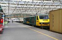 90046 with northbound containers through Carlisle station on 18 April. <br><br>[John Furnevel&nbsp;18/04/2007]