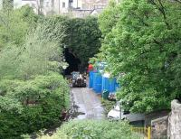 View north from the top of Scotland Street tunnel over the station site on 25 April 2007 showing work currently underway on the reopening of Rodney Street tunnel as part of an extended cycle path/walkway under Rodney Street and Broughton Road.<br><br>[John Furnevel&nbsp;/04/2007]