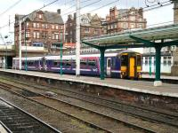 A First ScotRail service from Glasgow Central via Dumfries arriving at Carlisle on 18 April runs into bay platform 7.<br><br>[John Furnevel&nbsp;18/04/2007]