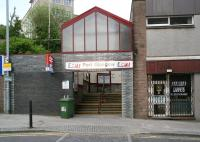 Entrance to Port Glasgow station from the junction of Princes Street and Station Road in April 2007. The ramp up to the eastbound platform and footbridge is to the right at the top of the steps. [See image 54919]<br><br>[John Furnevel&nbsp;29/04/2007]