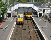 Trains to and from Largs meet at Kilwinning on 3 May.<br><br>[John Furnevel&nbsp;3/05/2007]