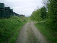 Caledonian Railway Lanarkshire and Dumbartonshire line, trackbed looking W at rear of Chivas Regal/Pernod/Ricard Plant.<br><br>[Alistair MacKenzie&nbsp;04/05/2007]