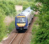 170401 the first turbostar heads east through Grange of Lindores. 1305 Perth to Glasgow diverted via Ladybank.<br><br>[Brian Forbes&nbsp;07/05/2007]
