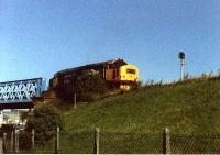 Lanarkshire and Dumbartonshire Railway. Class 37 401 on L&D Dalmuir Riverside Branch at bridge over Dumbarton Road.<br><br>[Alistair MacKenzie&nbsp;//]