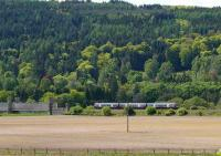 Dalguise Viaduct. A turbostar heads north past Craigvinean forest.<br><br>[Brian Forbes 15/05/2007]