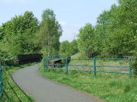 Looking to Elderslie East Junction, the trackbed now part of the cycle path network<br><br>[Graham Morgan&nbsp;04/05/2007]
