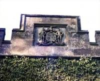 Detail on Guthrie Gate showing the Guthrie family coat of arms.<br><br>[Craig Seath&nbsp;//1982]