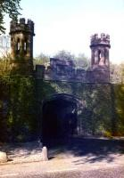 Guthrie Gate. The castellated bridge and gatehouse to the west of Guthrie station where the railway crossed the access road to the Guthrie estate. <br><br>[Craig Seath&nbsp;//1982]