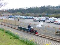 Having a wee laugh, smallest steam loco? Boness carpark during Open Day.<br><br>[Brian Forbes&nbsp;/04/2007]