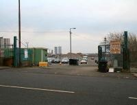 Gates at the main entrance to the former High Street goods depot in March 2007. View east towards Bellgrove with the current High Street passenger station just off to the right.<br><br>[John Furnevel&nbsp;18/03/2007]