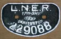 <B>LNER 17T</B> Darlington wagon plate 229088 1938, from wagon at Arnott Young breakers, re-painted.<br><br>[Alistair MacKenzie&nbsp;01/02/1980]
