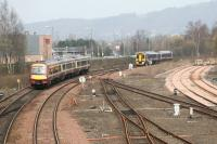 Trains passing at Stirling North in April 2007. Buffer stops guard the Alloa lines on the right.<br><br>[John Furnevel&nbsp;16/04/2007]