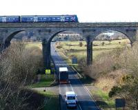 Edinburgh - Markinch service crosses the viaduct just south of its destination in February 2007.<br><br>[John Furnevel&nbsp;/02/2007]