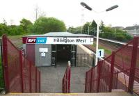 Scene at Hillington West on 20 May 2007. Entrance to the Glasgow bound platform from the station footbridge.<br><br>[John Furnevel&nbsp;20/05/2007]