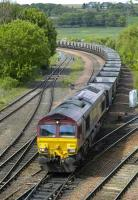 66227 brings Longannet empties south past Inverkeithing Central Jct on 31 May.<br><br>[Bill Roberton 31/05/2007]