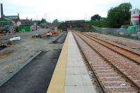 View looking west on the platform of the nearly complete Alloa (New) station.<br><br>[Ewan Crawford&nbsp;02/06/2007]