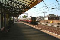 Glasgow bound train runs into Prestwick Town - May 2007.<br><br>[John Furnevel 03/05/2007]