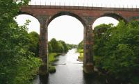 View south along the Water of Luce on 31 May 2007 at the point where Glenluce Viaduct carried <I>The Port Road</I> across the valley just west of the town.<br><br>[John Furnevel&nbsp;31/05/2007]