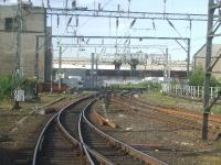 Bridge Street Junction, taken from a passing train, looking towards the Glasgow central signalling centre and the former Salkeld Street parcel depot<br><br>[Graham Morgan&nbsp;28/05/2007]