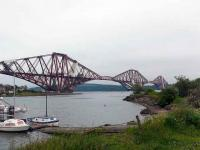 View south east over the Forth Bridge showing major works continuing. 12 June.<br><br>[Brian Forbes&nbsp;12/06/2007]