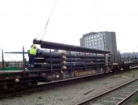 Pipe loading in Guild Street yard in June 2007. The days at Guild Street are numbered with work currently underway on the provision of replacement freight handling facilities at Raiths Farm near Dyce. <br><br>[Mick Golightly /06/2007]