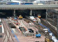West end view over Waverley on 11 June showing the current cordoned off area around platforms 12-14... not to mention that which arrived earlier as the lightest loaded Pendolino in the country... [see image 15040] <br><br>[John Furnevel&nbsp;11/06/2007]