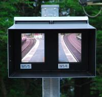A fancy new screen at Cardross shows the driver the front and back views of the train.<br><br>[Ewan Crawford&nbsp;13/06/2007]