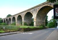 The impressive 10 arch Annick Water Viaduct (1868) to the south of Stewarton station. Photographed in June 2007 looking south west along the A735.<br><br>[John Furnevel&nbsp;17/06/2007]
