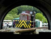 Exhibits at the Scottish Bus Group depot at Lathalmond. Ex Texaco 0-4-0DM is seen through the saddle tank of ex Barony Colliery no 17. June 2007. <br><br>[Bill Roberton&nbsp;/06/2007]