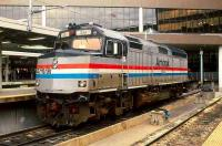 Amtrak diesel locomotive no 241 stands in one of the bay platforms at Boston South station on the morning of 15 October 1999.<br><br>[Bill Roberton&nbsp;15/10/1999]