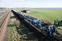 New track and laying equipment at Elliot Junction looking to Arbroath.<br><br>[Duncan Ross&nbsp;02/03/2007]