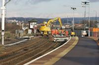 Looking north from Montrose station showing the track renewal work on 2 March 2007.<br><br>[Duncan Ross&nbsp;02/03/2007]