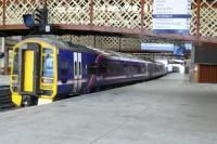 158702 is one of a trio of 158 sets stabled in platform 3 at Perth station on 25 June.<br><br>[Brian Forbes&nbsp;25/06/2007]