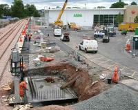 Busy platform scene at Alloa on 29 June. Note road markings have now appeared.<br><br>[John Furnevel&nbsp;29/06/2007]