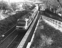 Diverted HST passes Meadowbank Stadium in 1987 during electrification work on the ECML.<br><br>[Bill Roberton&nbsp;//1987]