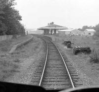 Drivers view approaching Ellon in June 1974 - the trackbed and platform that once served the Boddam branch can be seen on the right.<br><br>[John McIntyre&nbsp;01/06/1974]