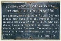 <b>NO TRESPASS </b> sign located on south side of track at Yoker opposite Lady Anne Street. <B>NB</B> - LNER sign though this was named as an LMSR line. It seems to have been an LMSR-LNER joint branch accessing the docks area.<br><br>[Alistair MacKenzie&nbsp;08/02/1980]
