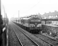 Passing the <I>stored locomotive</I> siding at Inchicore MPD, Dublin in 1988.<br><br>[Bill Roberton&nbsp;//1988]
