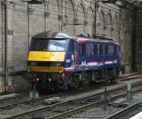 EWS 90021 in First ScotRail <I>Sleeper</I> livery stabled in the siding alongside the south wall at Waverley on 5 July 2007.<br><br>[John Furnevel&nbsp;05/07/2007]