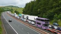 Road traffic stuck on the M90 southbound, on the site of Glenfarg station. <I>T in the Park</I> starts today. The M90 was blocked both ways at Milnathort, Junction 7.<br><br>[Brian Forbes&nbsp;06/07/2007]