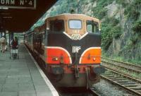 The 1700 to Rosslare Harbour stands at Waterford in 1993.<br><br>[Bill Roberton&nbsp;//1993]