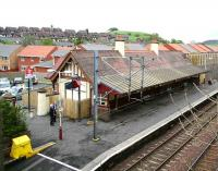 Platform side view over West Kilbride station in May 2007 looking northwest towards Largs. Work on conversion of the building to a restaurant continues. <br><br>[John Furnevel&nbsp;17/05/2007]