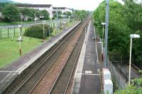 View west over Milliken Park station, Renfrewshire, on 17 June 2007.<br><br>[John Furnevel&nbsp;17/06/2007]