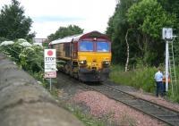 66125 and train held at signals east of Seafield crossing on 9 July. <br><br>[John Furnevel&nbsp;09/07/2007]