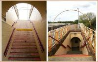 Two views of the eastside stairway at Girvan in May 2007 - continuing the overall <I>Art Deco</I> theme. <br><br>[John Furnevel&nbsp;31/05/2007]