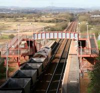 Coal empties rumble west through Baillieston station on 23 April 2007 heading for Clydeport, Hunterston... and more coal.<br><br>[John Furnevel&nbsp;23/04/2007]