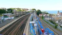 Northerly view of Kinghorn station with North Sea beyond. The crumbling platform is being reinforced.<br><br>[Brian Forbes&nbsp;10/07/2007]